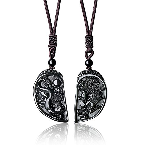 - COAI His and Hers Dragon and Phoenix Black Obsidian Stone Pendant Necklace for Couples
