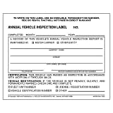 Annual Vehicle Inspection Label - Vinyl w/Mylar Laminate (Qty: 100 Units)