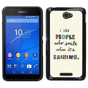EJOY---Cubierta de la caja de protección para la piel dura ** Sony Xperia E4 ** --Gente Citar Texto motivación