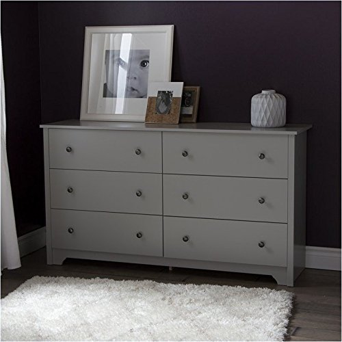 Pemberly Row 6-Drawer Double Dresser in Soft Gray