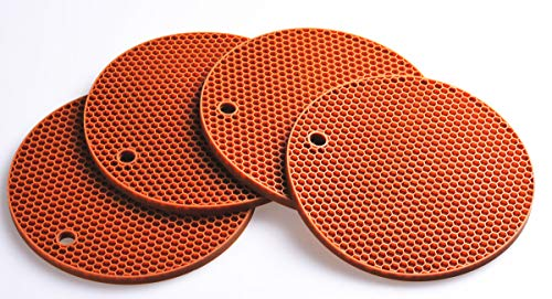 Lucky Plus Round Silicone Hot Mats and Trivets for Hot Dishes and Hot Pots, Hot Pads for Countertops, Tables, Pot Holders, Spoon Rest Small Place Mat Set of 4 Color Brown
