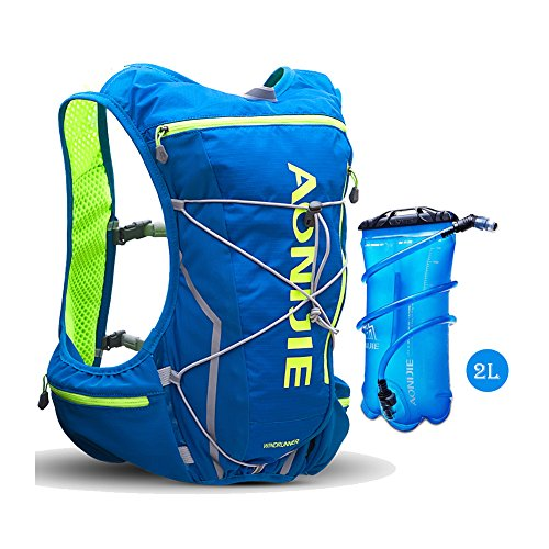 AONIJIE Running Hydration Pack Backpack 2L Hydration Bladder Men 10L Deluxe Running Race Hydration Vest Outdoors Mochilas Marathon Running Cycling Hiking(Blue-2L)