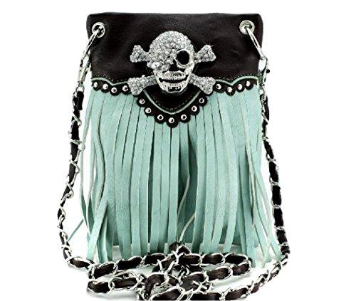 Purse Handbag Messenger Crossbones Mint Skull CrossBody Mini Phone Fringe Lunar Lily wgq8aZ