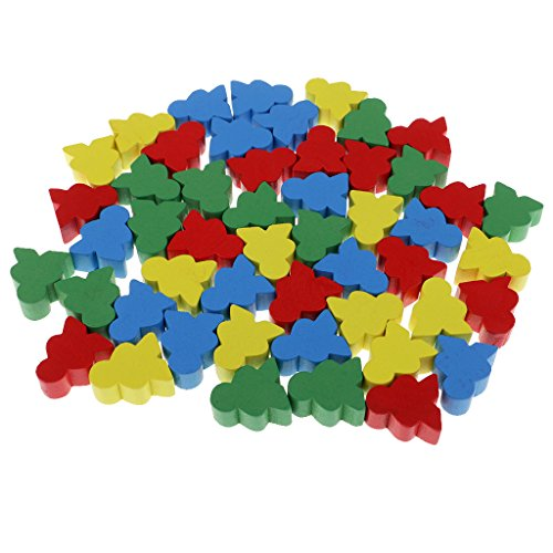 KOZEEY 子供 ボード ゲーム おもちゃ 人の形 木製 チェス 混合色 50個入り