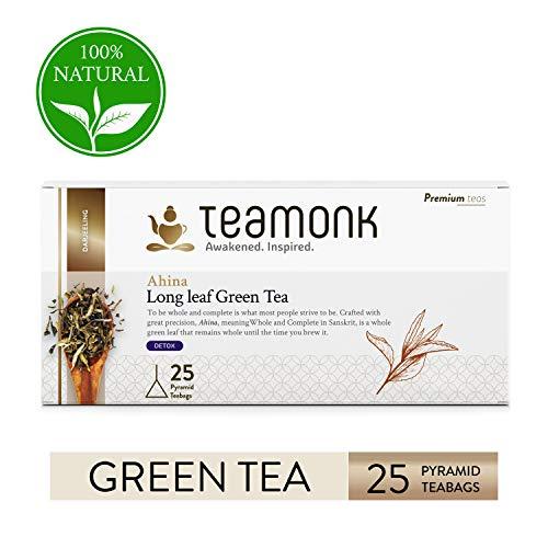 Teamonk Ahina Darjeeling Organic Detox Green Tea Bags - 25 Teabags | Detox Tea | Tea for Detoxification | 100% Natural | No Additives