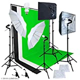 Linco Pheno Studio Lighting Studio Softbox Umbrella Reflector (3 in 1) Photography 9×10 feet Backdrop Stand Kit with 3 Color Muslin & Clamps