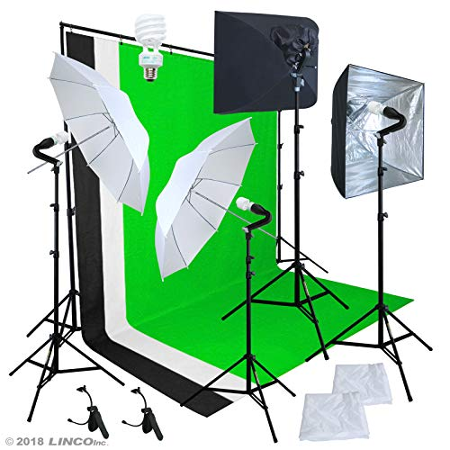 Linco Pheno Studio Lighting Studio Softbox Umbrella Reflector (3 in 1) Photography 9x10 feet Backdrop Stand Kit with 3 Color Muslin & Clamps (Best Lighting Equipment For Indoor Photography)