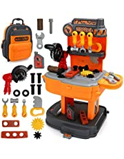 Kids Toddlers Toy Tool Set-2 in 1 Workbench Tool Construction Toy Travel Backpack for 3 4 5 Year Old Boys Girls Gifts Orange