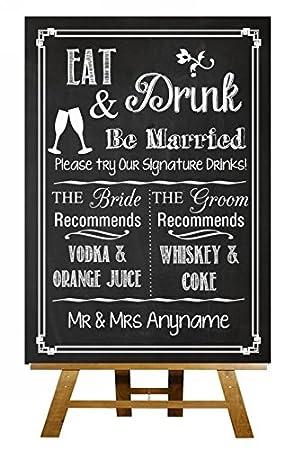 A3 pizarra firma bebidas cocktail bar Vintage con texto en ...