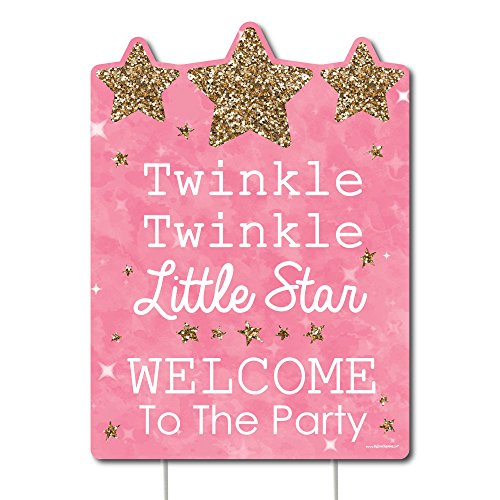 Big Dot of Happiness Pink Twinkle Twinkle Little Star - Party Decorations - Birthday Party or Baby Shower Welcome Yard Sign -