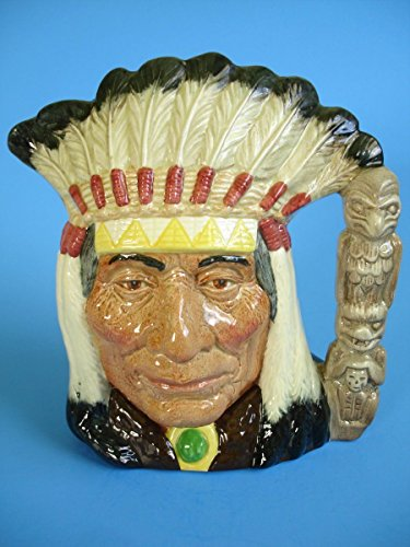 ROYAL DOULTON NORTH AMERICAN INDIAN LARGE TOBY JUG PITCHER D6611 7 3/4 IN.