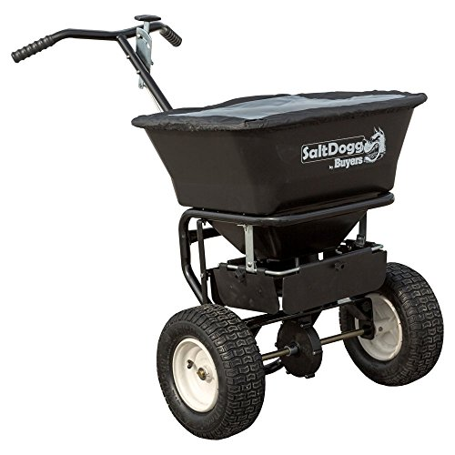 SaltDogg WB101G Professional 100 lb Capacity Walk Behind Broadcast Salt Spreader, Steel Frame Professional Spreader