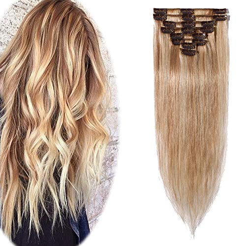 Remy Clip in Hair Extensions 100% Human Hair 18 Inch 70g Thin Standard Weft 8 Pcs 18 Clips Straight Hair for Women Beauty Gift Balayage #18P613 Ash Blonde Mix Bleach Blonde