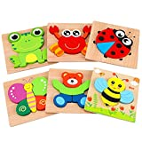 AKAMINO Wooden Animal Jigsaw Puzzles for Toddlers Kids 1 2 3 Years Old, Boys & Girls Educational Toys Gift with 6 Animals Patterns, Vibrant Color Shapes