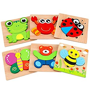 AKAMINO Wooden Animal Jigsaw Puzzles for Toddlers Kids 1 2 3Years Old, Boys & Girls Educational Toys Gift with 6 Animals…