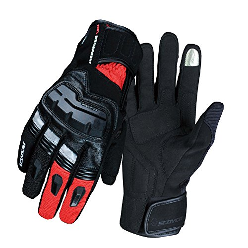 SCOYCO Screen Sensitive Cowhide Windproof Shockproof Double-Layered Thermal Spring Waterproof Motorcycle Glove (Red,XL)
