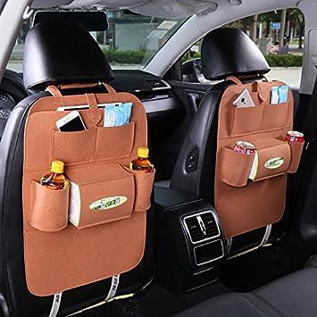 Car Seat Bag Organizer,Woolen Felt Seat Back Protectors for Kids Storage Bottles
