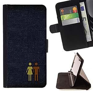 BullDog Case - FOR/LG G2 D800 / - / couple man woman love pair art figure toilet /- Monedero de cuero de la PU Llevar cubierta de la caja con el ID Credit Card Slots Flip funda de cuer