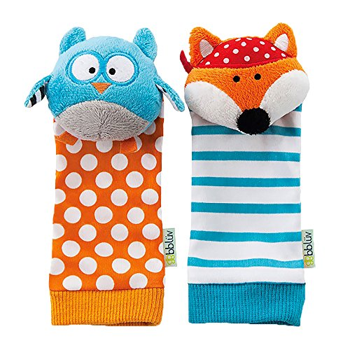bblüv - Düo - Foot Finders - Fun and colorful baby developmental socks with rattle (Fox and Owl) (Owl Babies Puppets)