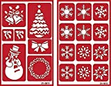 Over 'n' Over Reusable Self-Stick Etching Stencil for Glass (or Stamping) - Bundle of Two Sets - Christmas & Snowflakes