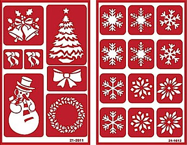 Over 'n' Over Reusable Self-Stick Etching Stencil for Glass (or Stamping) - Bundle of Two Sets - Christmas & Snowflakes by Over n Over