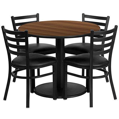 Dyersburg 5pcs Table Set Round 36'' Walnut Laminate, Black Vinyl Chair by iHome Studio