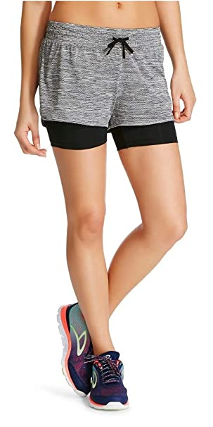 C9 Champion Women s Knit Layered Shorts (Ebony Heather Ebony d90c9292d9