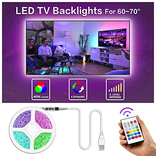 Bason TV LED Backlight, 13.09ft USB Led Lights Strip for TV/Monitor Backlight, Led Strip Light with Remote, TV Bias Lighting for Room Home Movie Decor(60-70inch), Updated.