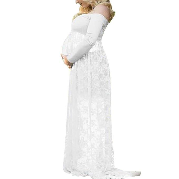 WINWINTOM 2018 Verano Mujer Casual Vestidos, Mujer Embarazada Fotografía Accesorios Fuera de Hombros Cordón Enfermería