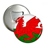 Wales National Flag Europe Country Round Bottle Opener Refrigerator Magnet Pins Badge Button Gift 3pcs