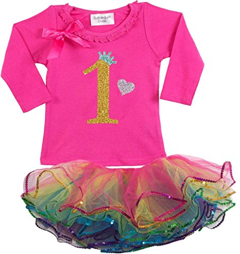 Bubblegum Divas Baby Girls' 1st Birthday Rainbow Gold Long Sleeve Tutu Outfit 18mos (Disco Themed Clothes)