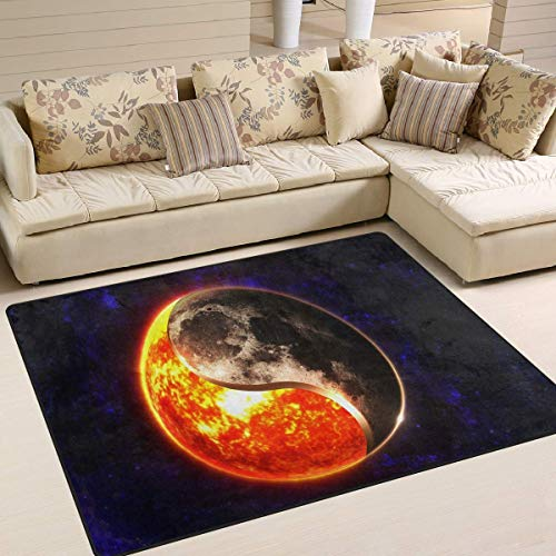 Libaoge Area Rugs - Durable, Soft Carpet - Chinese Yin Yang Sun Moon Indoor Flooring Rug Doormat for Living Room Bedroom | Play Mat for Children/Kids/Nursery/Boys/Girls - 5'3