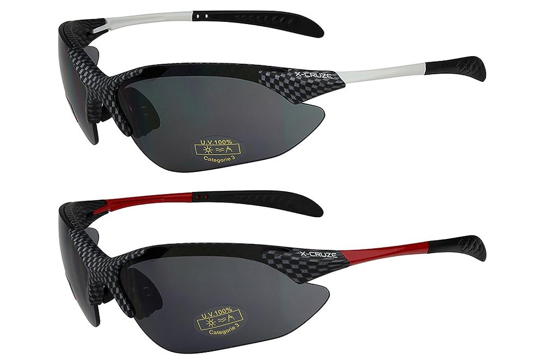 2er Pack X-CRUZE® Sonnenbrillen Sportbrille Radbrille Fahrradbrille in den Farben schwarz/weiß und schwarz/rot