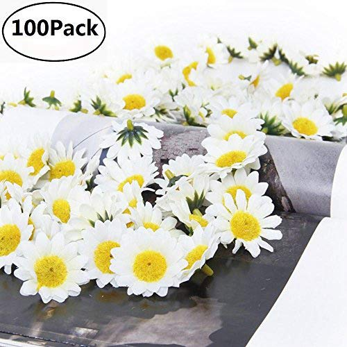 Fabric Daisy Flower Heads,100Pcs Artificial Gerbera Daisy Fake Flowers Heads Sunflower Easter Bonnet DIY Cake,Wedding Party Decorations Flowers Craft (White)