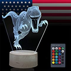 The dinosaur night light for kids creates a hologram-like illusion t-rex dinosaur imageThe dinosaur 3D lamp have 7 Colors and 4 Modes-the dinosaur illusion night light have Flash, Strobe, Fade, Smooth 4 modes, every mode change the color of d...
