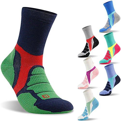 Hiker Micro Crew Cushion Socks, ZEALWOOD Outdoor Wick Dry Liner Socks,Men and Women's Basketball Camping Climbing Socks-Blue/Green, Large