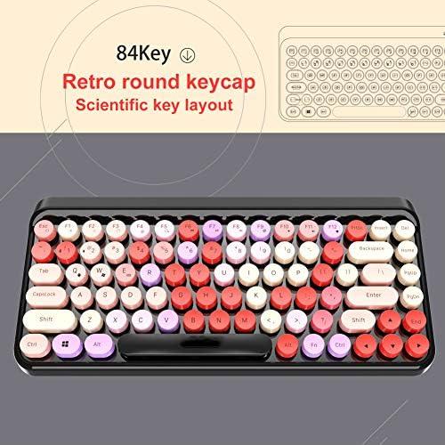 DWG Clavier Bluetooth, clé Punk Chapeau Rond rétro coloré 84 Clavier Portable Touche du Clavier sans Fil pour Les Jeux de Bureau