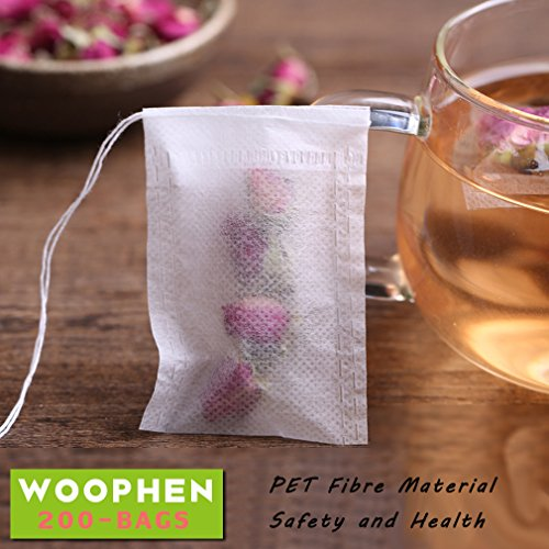 Learn More About Woophen Disposable Tea Filter Bags - 200 Pieces, Drawstring Tea Filter Bags with Na...