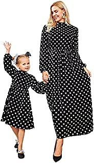 FAIRYLOOK Mommy and Me Maxi Dresses Vintage Black Polka Dot Print Round Neck Long Sleeve Mom Daughter Matching