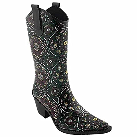 New Corkys Women's Rodeo Rain Boots Brown/Pink Flower 6 (Boot Rodeo Style)