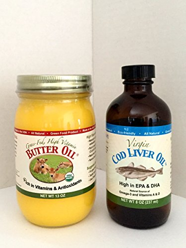 High Vitamin Butter Oil (13 Oz) & Virgin Cod Liver Oil (8 Oz; Mild Lemon & peppermint Flavor) (X Factor Gold High Vitamin Butter Oil)