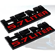 (Set of TWO) Muzzys Hemi 5.7L Black and Red Emblems for Dodge Ram 1500 2500 3500 Badge 3M Universal Stick On Sticker Trunk Fender Bumper Tailgate