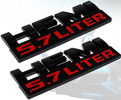 Muzzys (Set of TWO) Hemi 5.7L Black and Red Emblems for Dodge Ram 1500 2500 3500 Badge 3M Universal Stick On Sticker Trunk Fender Bumper Tailgate