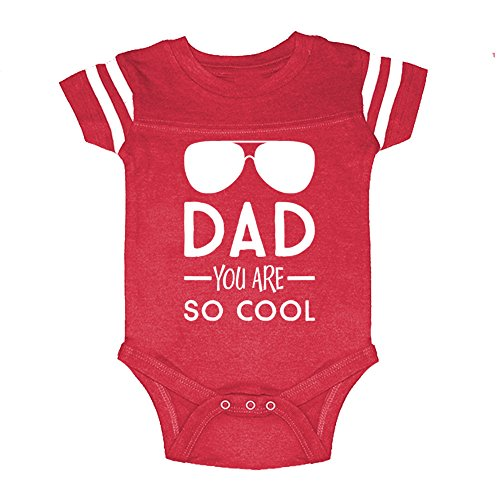 Mashed Clothing Unisex-Baby - Dad You Are So Cool (Sunglasses) Father's Day - Football Style Baby Bodysuit (Red, - Sunglasses 3 Baby Announcements