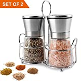 Premium Stainless Steel Pepper and Salt Grinder Set of 2 with Stand Glass Grinder Adjustable Coarseness Rotor Refillable (Stainless Steel, medium)