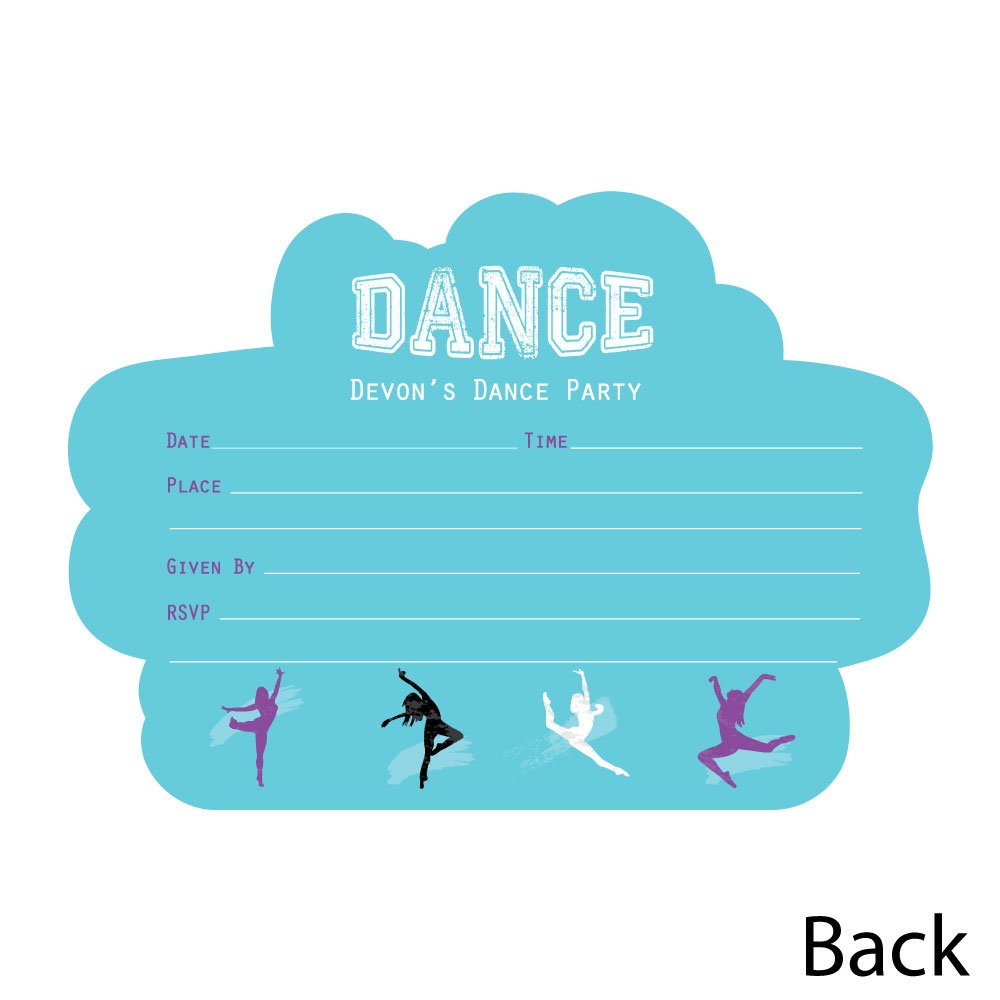 Custom Must Dance to the Beat - Dance - Personalized Dance Party or Birthday Party Invitations - Fill In Invitation Cards with Envelopes - Set of 12 by Big Dot of Happiness (Image #3)