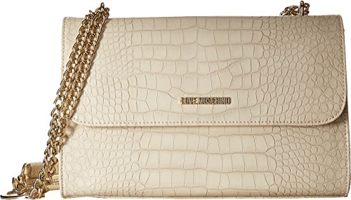 LOVE Moschino Women's Croco Pu Shoulder Bag White Handbag by Love Moschino