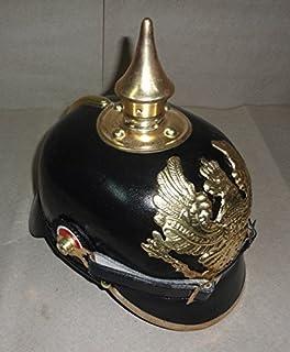 Imperial alemán Pickelhaube claveteado Oficial Casco - Cuero Negro y latón