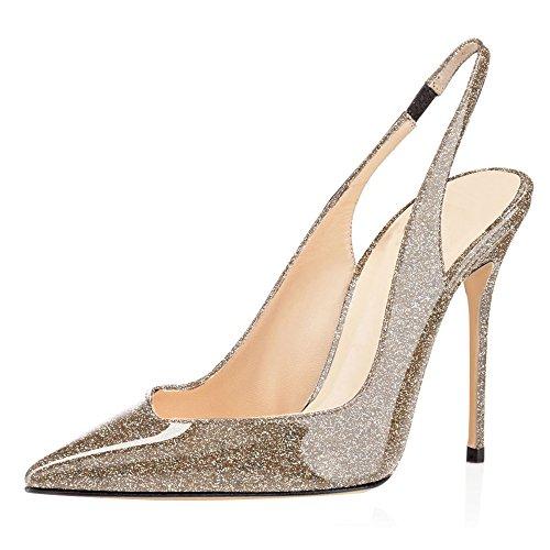 Chaussures Aiguille Escarpins Sexy EDEFS Gold Fermé Bout Glitter Bride Arrière Talon Femme 61Iqqw0