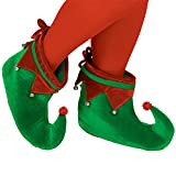 Fun-Filled Christmas and Holiday Party Elf Shoes - Adult , Green/Red, Polyester Velour , Pack of 2